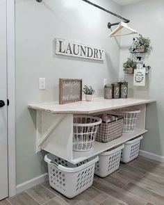 farmhouse laundry room is usually the most messiest room at your home. Admit it, farmhouse laundry room is usually the most messiest room at your home. 86 Brilliant Laundry Room Ideas for Small Spaces Laundry Room Drying Rack, Laundry Room Organization, Laundry Room Design, Organization Ideas, Laundry Room Colors, Laundry Basket Storage, Laundry Room And Pantry, Organized Laundry Rooms, Laundry Room Shelving