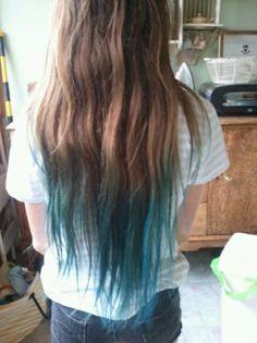 Blue Hair Tips On Brown Hair