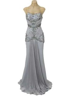 """Silver Beaded Sequined Lace Chiffon """"Old Hollywood Glamour"""" Gown"""