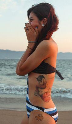 Mermaid-side-tattoo - 20 Lovely Mermaid Tattoos <3 <3