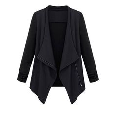 Casual Women Solid Irregular Patchwork Lapel Zipper Jacket (35 BAM) ❤ liked on Polyvore featuring outerwear, jackets, lapel jacket, womens plus size jackets, plus size jackets, zipper jacket and zip jacket