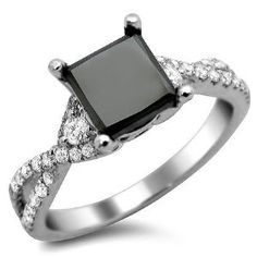 2.02ct Black Princess Cut Diamond Engagement Ring 18k White Gold by Front Jewelers - See more at: http://blackdiamondgemstone.com/jewelry/wedding-anniversary/engagement-rings/202ct-black-princess-cut-diamond-engagement-ring-18k-white-gold-com/