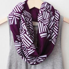 White Crosshatch on Plum Infinity Scarf from Picsity.com