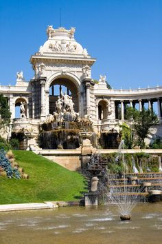 Palais Longchamp in Marseille, France. Take the tram from the City center which stops at the foot of the Edifice. Climb the steps to the top for great views and a pleasant park and museums. The fountains and sculptures themselves are magnificent. Wonderful Places, Beautiful Places, Amazing Places, Cool Places To Visit, Places To Travel, La Provence France, Places Around The World, Around The Worlds, Ville France