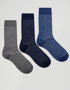 Image 1 of ASOS Smart Socks With Rib 3 Pack