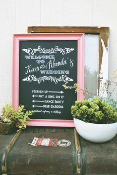 wedding chalkboard // welcome sign // coral and navy blue hand made by http://www.etsy.com/shop/MysticsandMint
