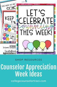 Educate, inspire, and celebrate all the hard-work counselors put into their counseling programs with this easy to print and post resource! Celebrate School Counseling Week! This Rainbow celebration poster and bulletin board set is ideal for commemorating and acknowledging the counselors in your school! Celebrate your school counselors that help students with college and career readiness endeavors! Shop College Counselor Traci for more ideas! #schoolcounseling #nationalschoolcounselingweek… National School Counseling Week, College Counseling, School Guidance Counselor, Counselor Office, D School, School Stuff, Counselor Bulletin Boards, College Success, Hard Work