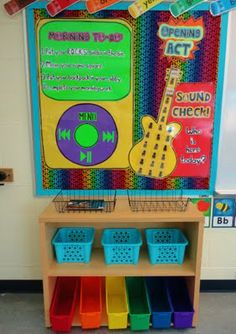 LOVE this idea!  Her room is a rockstar theme!!  How fun!  If I weren't doing a town theme, I would do this!  BUT, I think there are elements to bring into my classroom!