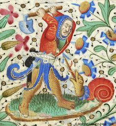 Hooded man, holding raised ax or spade in both hands above fantastic snail, sticking out its tongue | Book of Hours | France, Paris | ca. 1460 | The Morgan Library & Museum
