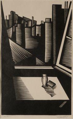 """  Pompeyo Audivert   """"Ciudad""""   1929   Xilografía sobre madera   Cerrada:19,8 x 33,7 x 13,7 cm. Abierta: 31 x 33,7 x 27,5 cm. Campana Acrílico p/protec.:43,7 x 45 x 37,5 cm.   Inv. 8398   http://www.mnba.gob.ar/coleccion/obra/8398  """