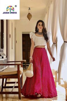 Feb 2020 - Latest simple Unique Pink and White Lehenga For Party look.For order WhatsApp on Party Wear Indian Dresses, Indian Gowns Dresses, Indian Fashion Dresses, Dress Indian Style, Indian Designer Outfits, Indian Outfits Modern, Designer Dresses, Lehenga Designs Simple, Simple Lehenga