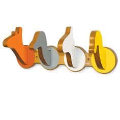 Save space & show your creativity with these Safari Wall Hooks new from the Safari Collection. The Safari Wall Hooks hang coats, backpacks, and more! Made of the same quality wood to match the Pkolino line and coated with a wood veneer. Toddler Furniture, Animal Silhouette, Safari Theme, Safari Room, Nursery Neutral, Yellow Nursery, Safari Animals, Wild Animals, Kids Decor