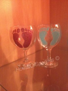 Baby Footprint Glitter Glass Half Price by HouseOfSparkles13, £2.50