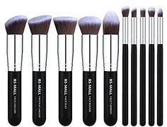 BSMALLTM Makeup Brushes Premium Makeup Brush Set Synthetic Kabuki Makeup Brush Set Cosmetics Foundation Blending Blush Eyeliner Face Powder Lip Brush Makeup Brush Kit10pcs Silver Black *** Want to know more, click on the image.