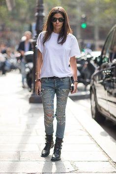 la modella mafia Barbara Martelo Spring 2014 Paris fashion week street style in Saint Laurent by Hedi Slimane 1