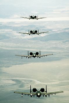 An air-to-air front view of four 25th Tactical Fighter Squadron A-10 Thunderbolt II aircraft in formation during Exercise Team Spirit '86.