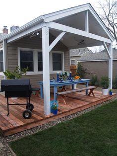 Design ideas for covered decks and pergola – Googodecor Patio Diy, Patio Pergola, Deck With Pergola, Diy Deck, Backyard Patio, Patio Wall, Outdoor Patios, Modern Backyard, Large Backyard