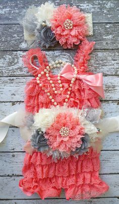 Coral Pink Lace Romper SetCoral and Grey by AshleyBryann on Etsy, $69.95
