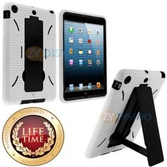 myLife (TM) White + Black Shockproof Survivor (With Built In Kickstand) Durable Case for Apple iPad Mini Touch Tablet (Soft and Flexible Ext...