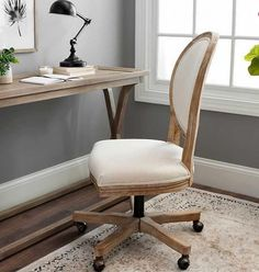 This Ivory Louis Rolling Chair is a comfortable, stylish addition to any office space or dining room. You will love the rustic look of this rolling swivel chair. Farmhouse Office Chairs, Home Office Chairs, Modern Farmhouse Decor, New Furniture, Living Room Furniture, Furniture Design, Furniture Slipcovers, Chair Design, Rolling Chair