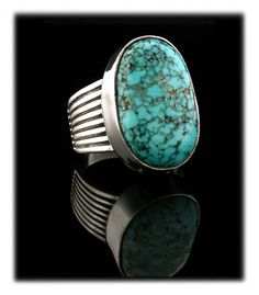 Lone Mountain Turquoise Ring by John Hartman.  This type of natural Nevada Turquoise is almost un-obtainable.  This is the top grade of natural Lone Mountain Turquoise.