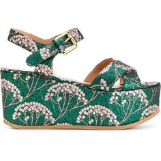 L'Autre Chose jacquard wedge sandals ($309) ❤ liked on Polyvore featuring shoes, sandals, green, metallic wedge sandals, l'autre chose, wedge sandals, green sandals and green shoes