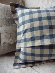 Blue French Toile de Jouy and Blue Checked by gillyflowerdesigns