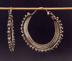 Indian earrings called bali, silver indian jewelry, jewellery from Himachal Prad...