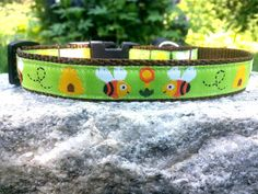 Bumble Bee 3/4 Inch Width Dog Collar by WillyWoofs on Etsy, $16.00