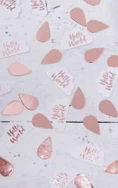 Rose Gold Hello World Baby Shower Confetti Get ready for the new arrival and Sprinkle this pretty...