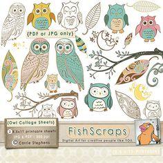 Whimsical Woodland Owls Printable - - Digital Collage Sheet