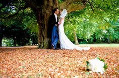 Woodhall Manor Suffolk Wedding Photo of bride and groom Autumn