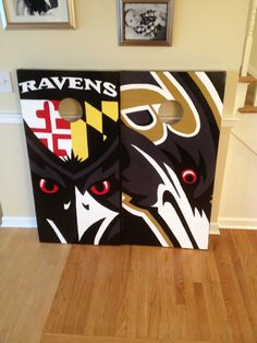 Baltimore Ravens cornhole boards.  100% hand painted. www.danscustomgames.com