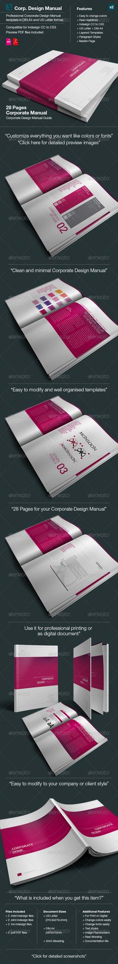 Corporate Design Manual Guide Din A   Pages  Corporate