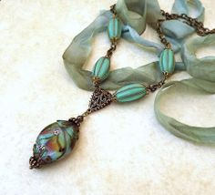 Lampwork pendant necklace Love the vintage wired beads