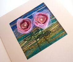 Pink organza flowers stitched fabric landscape art by StitchMikki, $6.00