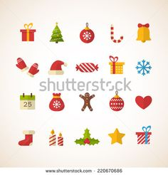 Set of flat Christmas icons - stock vector