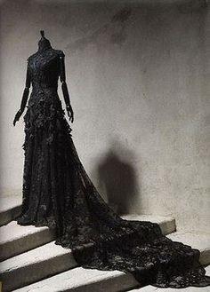 Black Gothic Victorian Gown Bridal Wedding … More