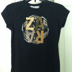 Zara black and gold T-shirt Medium but it is on the fitted side. Black and gold. Zara Tops Tees - Short Sleeve