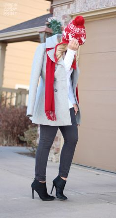 Winter layers with cute booties