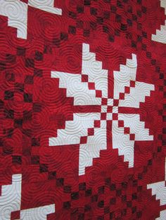 "Red and white Nordic Vision quilt by Vikki, quilted by Teresa Silva with an ""Overlapping Crop Circles"" design, posted at Quilting is my Bliss.  Nordic Vision pattern by Gudrun at GE Designs."