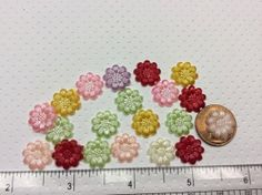 20 Acrylic Colorful Flower Flatbacks by creationandsupplies, $2.75