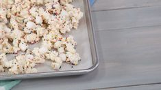 Sign us up! Drizzled in a scrumptious cake-batter-white-chocolate mixture and coated with rainbow sprinkles, this over-the-top Birthday Cake Popcorn is fantastic for movie nights, baby showers, or even boxed up as party favors.