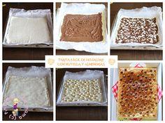 Tarta-hojaldre-nutella-almendras_ 2 láminas de hojaldre 1 bote de Nutella de 400 g (yo usé más o menos la mitad del bote, depende de la cantidad que queráis echar) Almendras laminadas. 1 huevo batido Conguitos, Lacasitos o lo que queráis ponerle por encima Pitandounamama