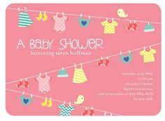 7 DIY Baby Girl Shower Invitations clothes line