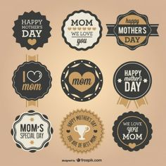 Mother's day retro badges set