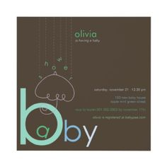 """Baby """"a"""" in B Boy Blue Cute Baby Shower Invitation by fatfatin_box by fatfatin - visit my store for more options. This design is available in girl, boy or gender neutral colors."""