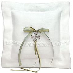 White Linen Ring Pillow with Celtic charm.