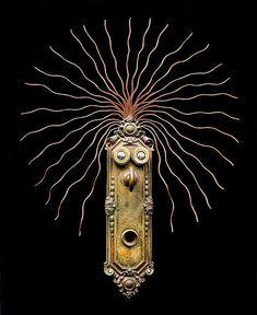 "assemblage junk hangings | Jim Shores Art Ope-De-Doe (6-14-06) 17"" high. Wall-hanging. Ope-de-doe ..."