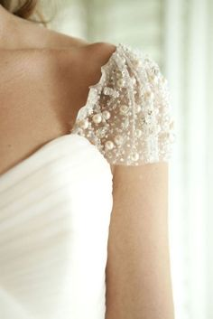 Love the bead details #wedding #details #beads #white #lace #inspiration #dress
